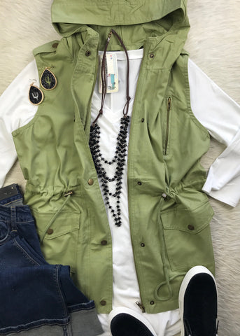Hooded Utility Vest | Sage - Rolling Ranch Boutique