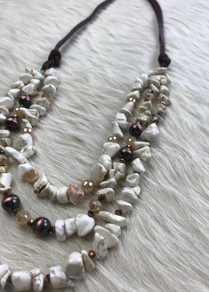 Triple Strand Chunky Stone Necklace | Cream