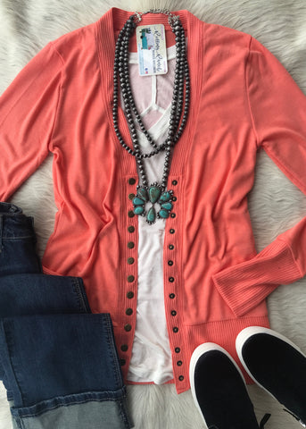 Snap Button Cardigan | Deep Coral