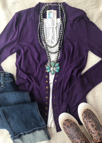 Snap Button Cardigan | Dark Purple