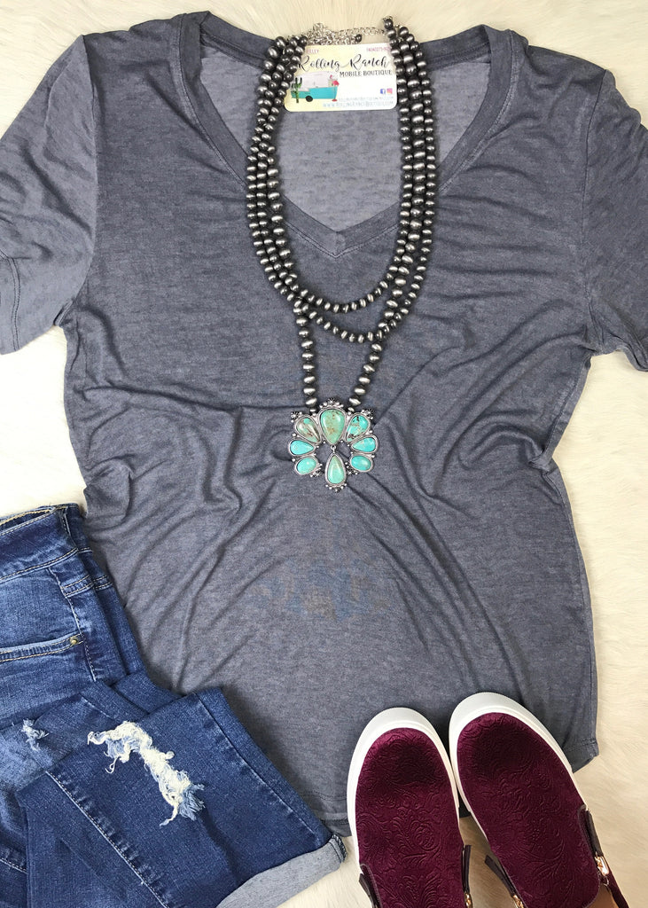 Mineral Washed V Neck | Charcoal - Rolling Ranch Boutique