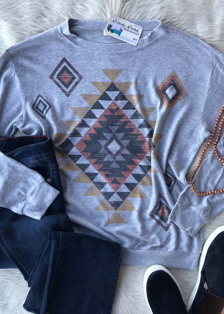 Oh So Soft Crew Neck Aztec | Grey - Rolling Ranch Boutique