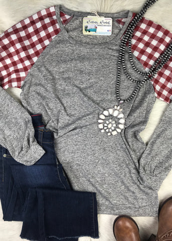 Gingham Baseball Style Long Sleeve - Rolling Ranch Boutique