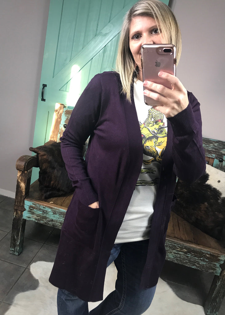 Cool Days Cardigan | Dark Purple - Rolling Ranch Boutique