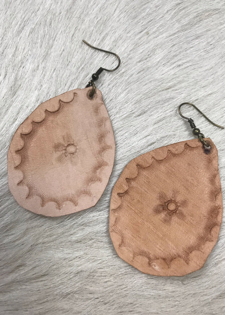 Colt Hilley Leatherwork Hand Tooled Earrings | Shell and Flower Pattern - Rolling Ranch Boutique