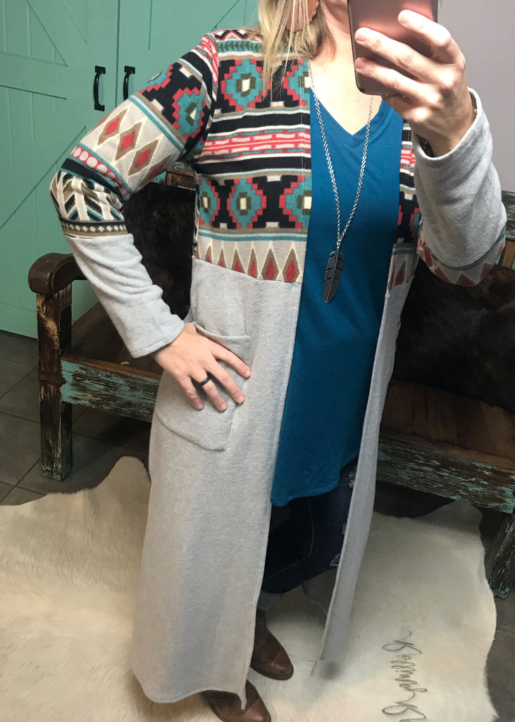 Heather Grey and Aztec Duster - Rolling Ranch Boutique