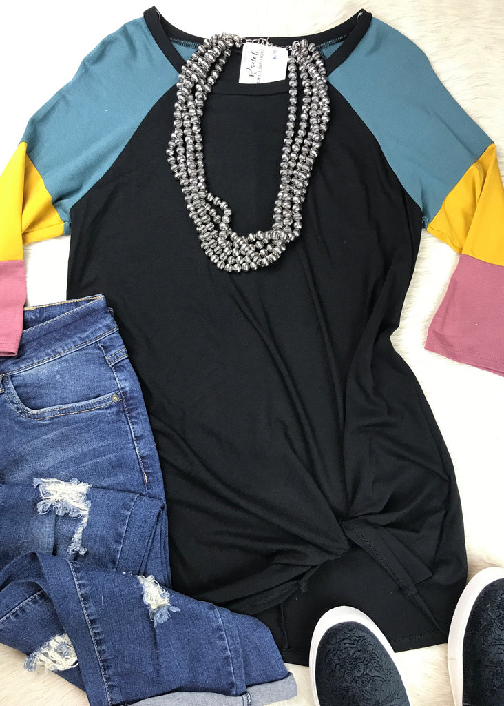 Color Block Sleeves Baseball Tee | Black - Rolling Ranch Boutique
