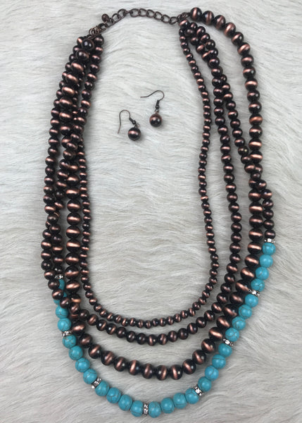 Bronze and Turquoise Layered Necklace - Rolling Ranch Boutique
