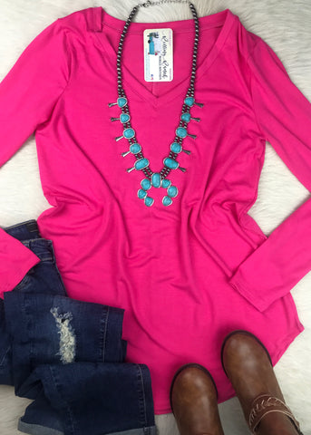 Long Sleeve Daily V Neck | Fucshia