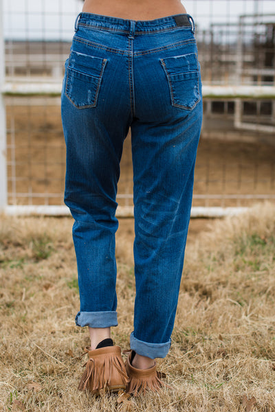 Mid Wash Distressed Boyfriend Jeans - Rolling Ranch Boutique