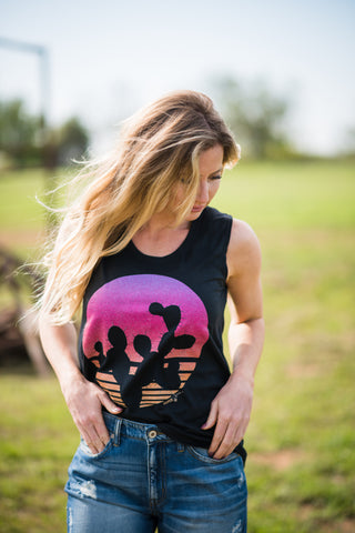 Cactus Sunset Tank - Rolling Ranch Boutique