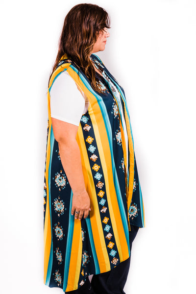 Vertical Striped Aztec Vest | Small to 3X
