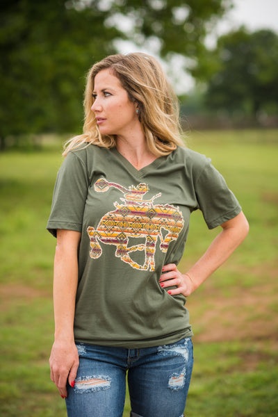 Aztec Bucking Horse V Neck - Rolling Ranch Boutique