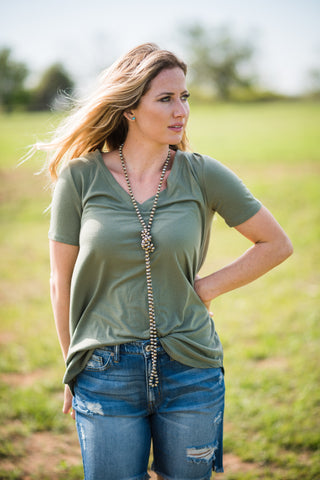 Daily V Neck | Light Olive - Rolling Ranch Boutique