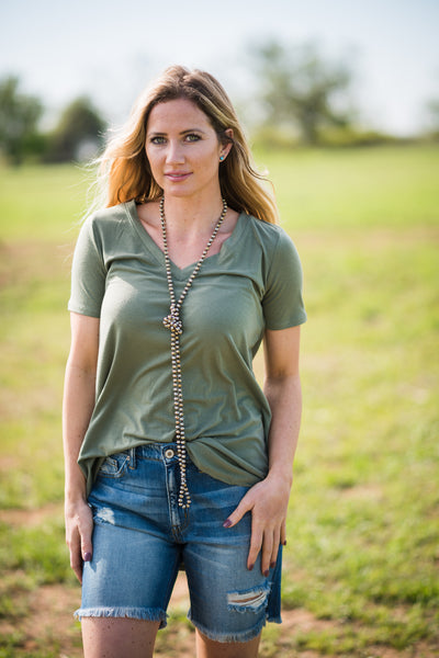 Daily V Neck | Light Olive | Small to 3X - Rolling Ranch Boutique