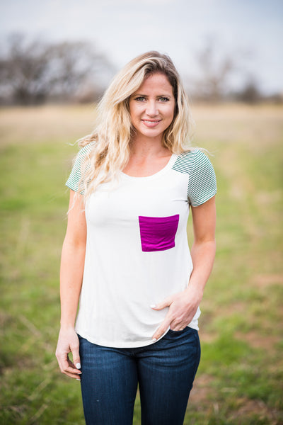 Striped Yoke Pocket Tee | Magenta
