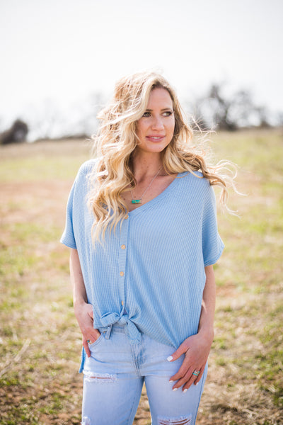 Button Down Tie Front Waffle Dolman | Light Blue - Rolling Ranch Boutique