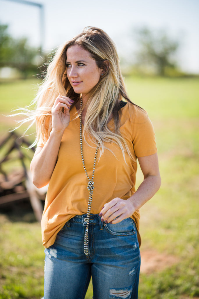 Daily V Neck | Dark Mustard - Rolling Ranch Boutique