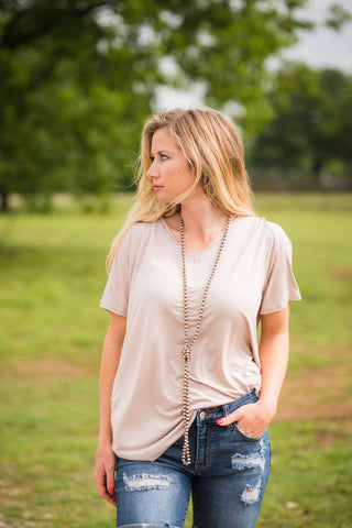 Simply Soft V Neck Tee | Tan