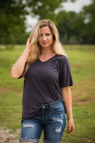 Simply Soft V Neck Tee | Charcoal