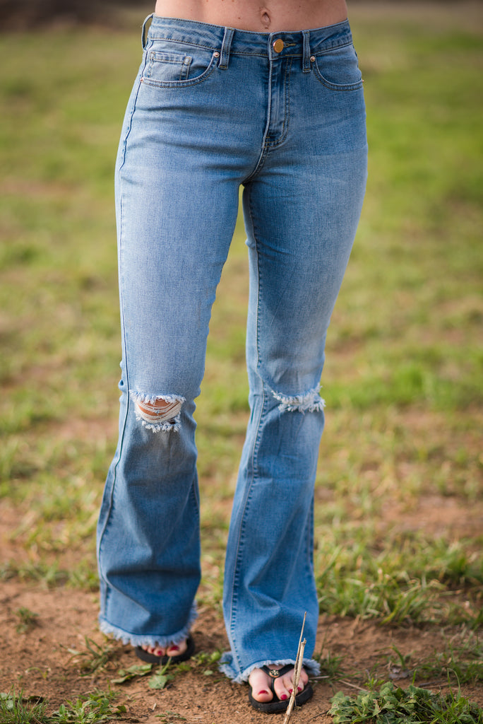 High Rise Distressed Bells | Medium Wash - Rolling Ranch Boutique