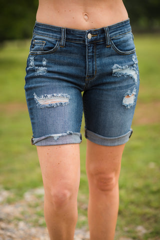 Denim Destroyed Bermuda Shorts - Rolling Ranch Boutique