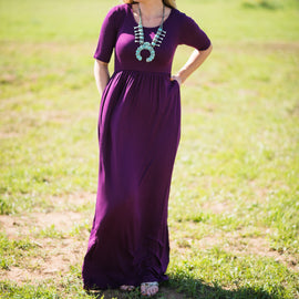 Short Sleeve Pocket Maxi | Dark Plum | Small to 3X