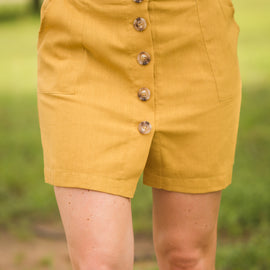 Mustard Button Front Skirt *Final Sale*