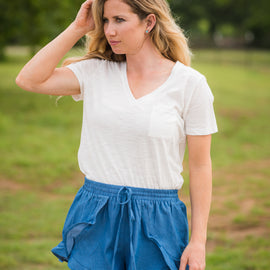 SALE PRICED Chambray Ruffle Shorts *Final Sale*