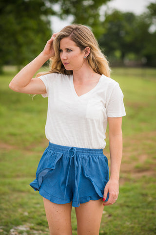 Chambray Ruffle Shorts - Rolling Ranch Boutique