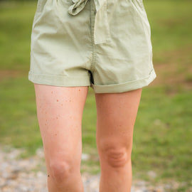 SALE PRICED Paper Bag Waist Shorts | Light Olive *Final Sale*