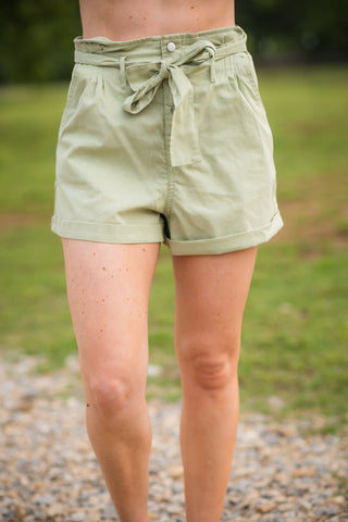 Paper Bag Waist Shorts | Light Olive
