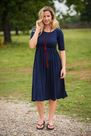 All the Days Pocket Dress | Navy - Rolling Ranch Boutique