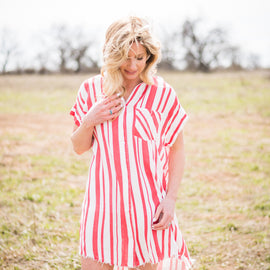 Red and White Striped Tunic Dress *Final Sale*
