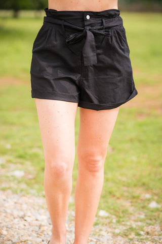 Paper Bag Waist Shorts | Black