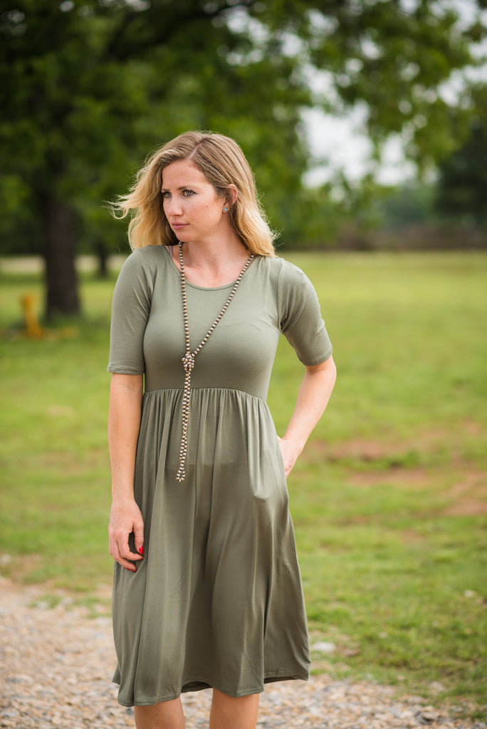 All the Days Pocket Dress | Light Olive - Rolling Ranch Boutique