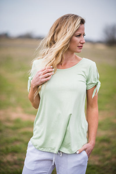 Tie Sleeve Basic Top | Light Green