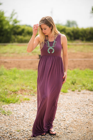 Sleeveless Pocket Maxi | Eggplant