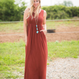 Sleeveless Pocket Maxi | Dark Rust