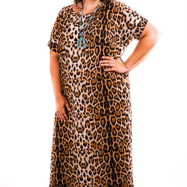 Leopard Print Short Sleeved Slit Dress | Small to 3X