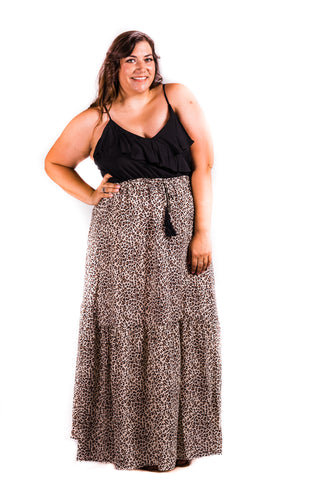 Ruffle Detail Top with Leopard Skirt Dress | Small to 3X