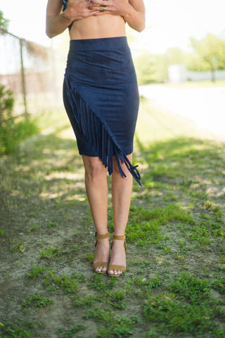 Navy Fringe Skirt - Rolling Ranch Boutique