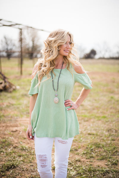 Green Apple Cold Shoulder - Rolling Ranch Boutique