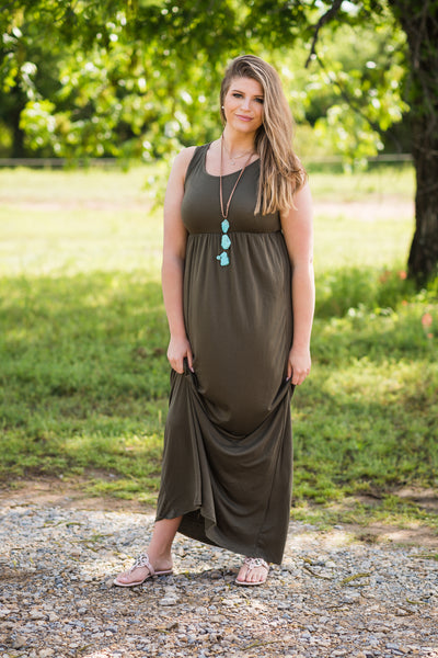 Sleeveless Pocket Maxi | Dark Olive