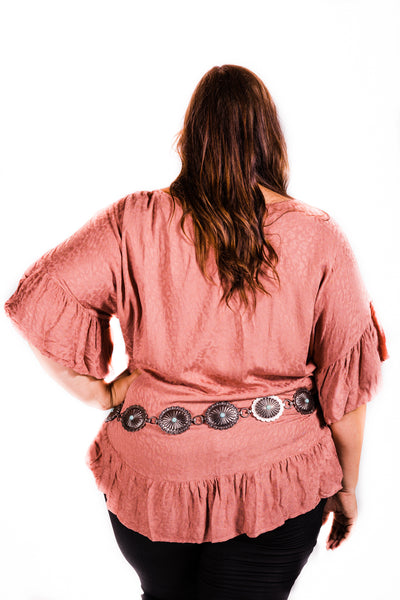 Double Ruffle Sleeve | Clay - Rolling Ranch Boutique