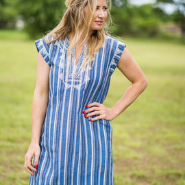 Vertical Striped Embroidered Dress