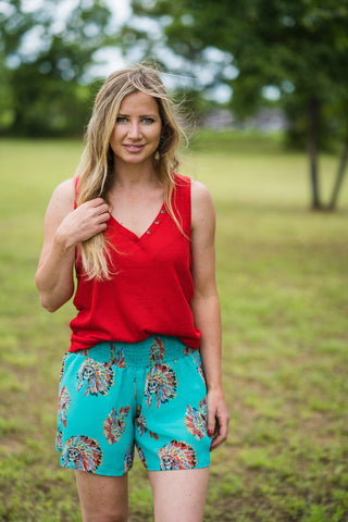 Chief Shorts | Turquoise - Rolling Ranch Boutique