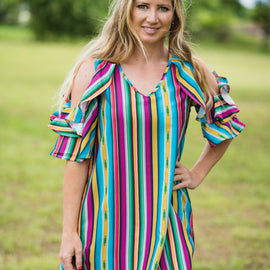 Serape Cold Shoulder Ruffle Dress