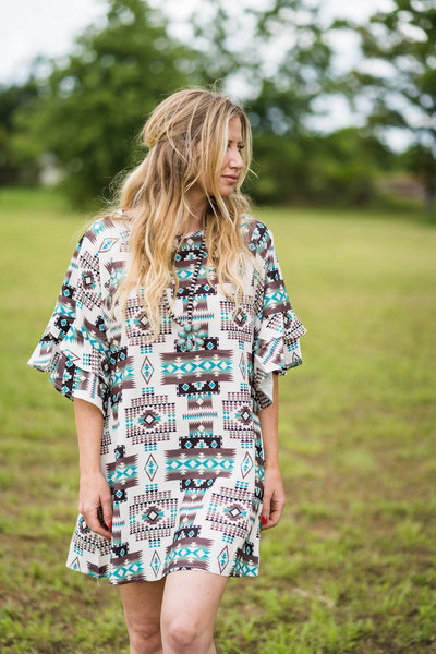 Neutrals Aztec Dress - Rolling Ranch Boutique