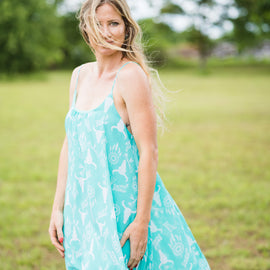 Chiffon Dress | Turquoise Dream Catcher and Skulls *Final Sale*